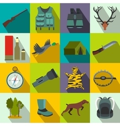 Hunting flat icons vector image vector image