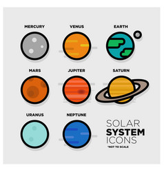 solar system icon set vector image vector image