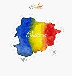 Travel around the world Andorra Watercolor map vector image vector image