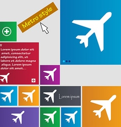 airplane icon sign buttons Modern interface vector image