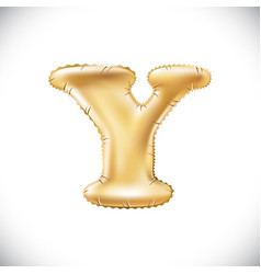 balloon letter y realistic 3d isolated gold vector image vector image