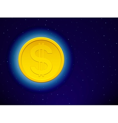 Dollar on starry sky vector image vector image