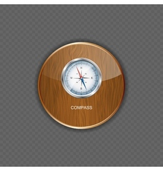 Glossy Compass wood application icons vector image vector image