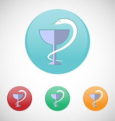 Pharmacy symbol Snake and cup icon set vector image