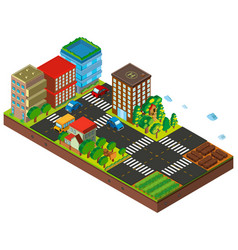 3d design for city with buildings and cars vector image