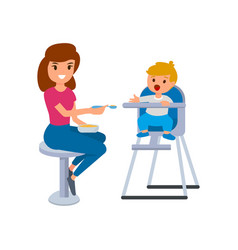 A babysitter or nanny feeds the baby in the vector