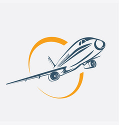 Airplane symbol aircraft stylized icon vector