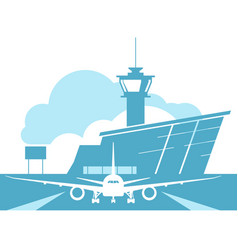 Airport terminal building and landing aircraft vector