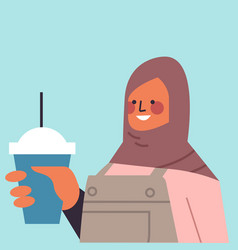 Arabic woman in traditional clothes drinking vector