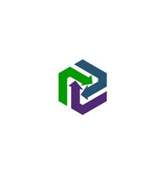 Arrow synergy logo design template vector