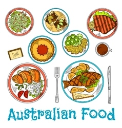 Authentic dishes of australian cuisine sketch vector image