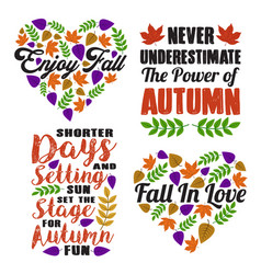 autumn saying and quote set vector image