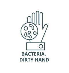 bacteria dirty hand line icon bacteria vector image