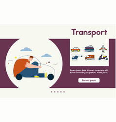 banner different types transport vector image