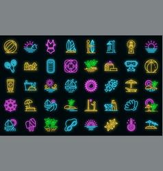 beach landscape icons set neon vector image