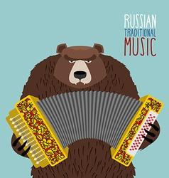 Bear playing accordion Russian national musical vector image