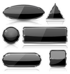 Black glass buttons with chrome frame geometric vector