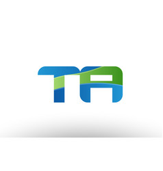 blue green ta t a alphabet letter logo vector image vector image