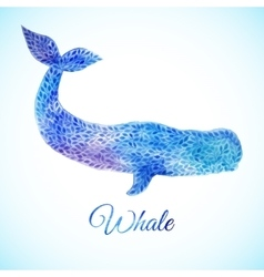 Blue Watercolor whale vector image