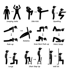 Body workout exercise fitness training set 1 vector