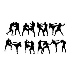 boxer duel silhouettes vector image