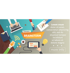 brainstorming creative team concept in flat style vector image