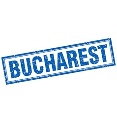 Bucharest blue square grunge stamp on white vector