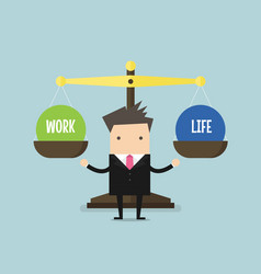 Businessman balance work and life vector