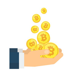 businessman hands with falling bitcoins vector image