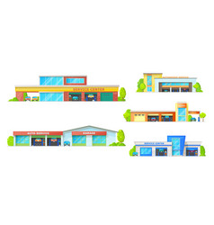car service auto repair and garage building icons vector image