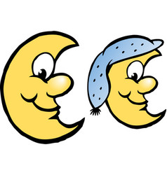 cartoon of a happy yellow moon vector image