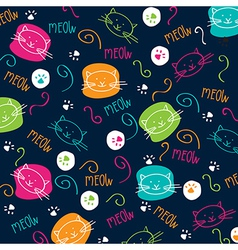 Cartoon pattern with cute cats vector image