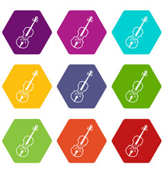 cello icon set color hexahedron vector image