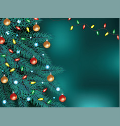 christmas background with xmas tree and garland vector image
