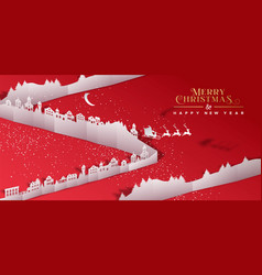 Christmas new year paper cut village city banner vector