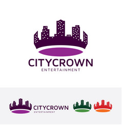 city crown logo design vector image