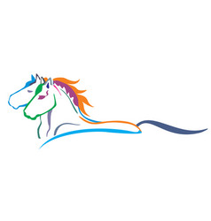 colorful horses vector image