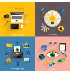 Creative idea branding graphic design icon set vector image