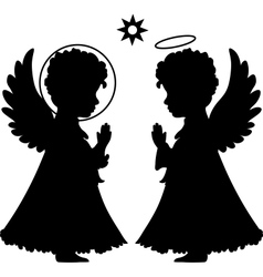Cute angels silhouettes set vector image
