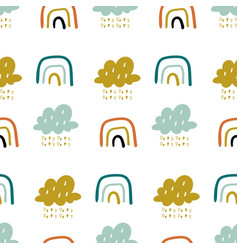 Cute doodle pattern with rainbows vector