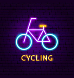 cycling neon label vector image