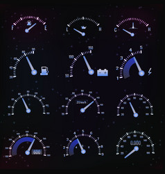 dark speedometer interface icon set vector image