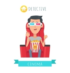 Detective story man in cinema seat entertainment vector