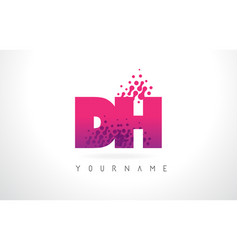 Dh d h letter logo with pink purple color vector