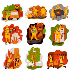 Fire fighting flat compositions set vector