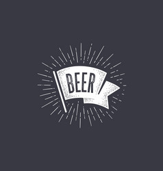 flag beer old school flag banner with text beer vector image