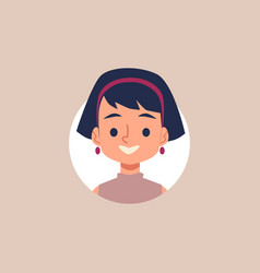 flat cartoon girl user icon portrait inside circle vector image