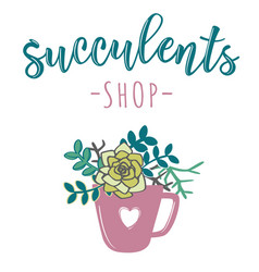 For store of succulents vector
