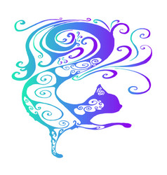 Funny fairy tale psychedelic silhouette of a cat vector