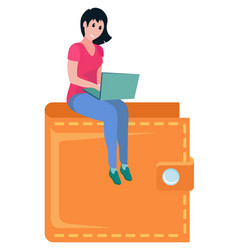 girl sitting on top wallet girl laptop vector image